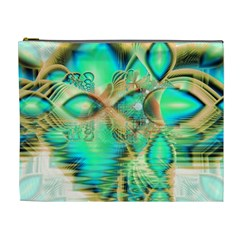 Golden Teal Peacock, Abstract Copper Crystal Cosmetic Bag (xl)