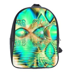 Golden Teal Peacock, Abstract Copper Crystal School Bag (Large)