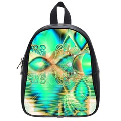 Golden Teal Peacock, Abstract Copper Crystal School Bag (small)