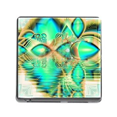 Golden Teal Peacock, Abstract Copper Crystal Memory Card Reader with Storage (Square)