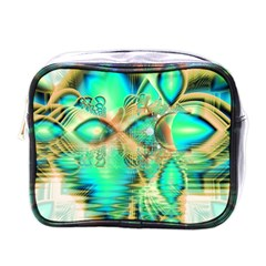 Golden Teal Peacock, Abstract Copper Crystal Mini Travel Toiletry Bag (one Side)