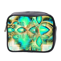 Golden Teal Peacock, Abstract Copper Crystal Mini Travel Toiletry Bag (Two Sides)
