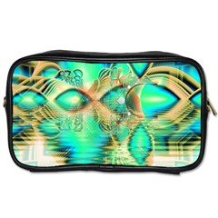 Golden Teal Peacock, Abstract Copper Crystal Travel Toiletry Bag (Two Sides)