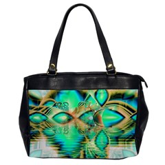 Golden Teal Peacock, Abstract Copper Crystal Oversize Office Handbag (One Side)