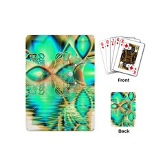 Golden Teal Peacock, Abstract Copper Crystal Playing Cards (Mini)