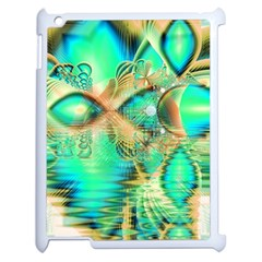 Golden Teal Peacock, Abstract Copper Crystal Apple iPad 2 Case (White)