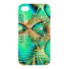 Golden Teal Peacock, Abstract Copper Crystal Apple iPhone 4/4S Hardshell Case