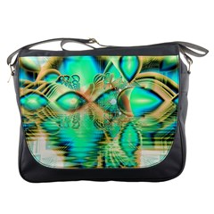 Golden Teal Peacock, Abstract Copper Crystal Messenger Bag