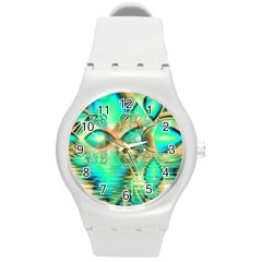 Golden Teal Peacock, Abstract Copper Crystal Plastic Sport Watch (Medium)