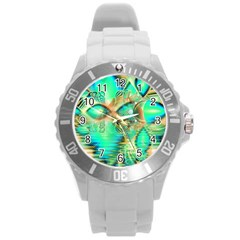 Golden Teal Peacock, Abstract Copper Crystal Plastic Sport Watch (large)