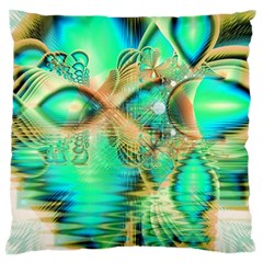 Golden Teal Peacock, Abstract Copper Crystal Large Cushion Case (single Sided)