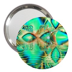 Golden Teal Peacock, Abstract Copper Crystal 3  Handbag Mirror