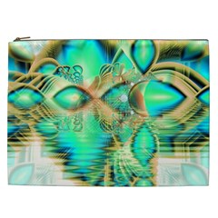 Golden Teal Peacock, Abstract Copper Crystal Cosmetic Bag (XXL)