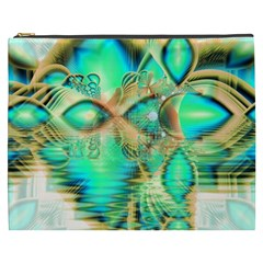 Golden Teal Peacock, Abstract Copper Crystal Cosmetic Bag (XXXL)