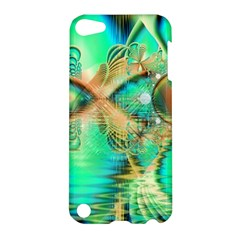 Golden Teal Peacock, Abstract Copper Crystal Apple Ipod Touch 5 Hardshell Case