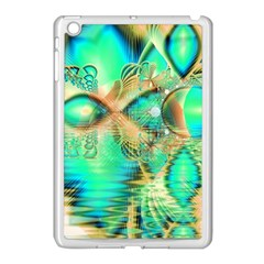 Golden Teal Peacock, Abstract Copper Crystal Apple iPad Mini Case (White)