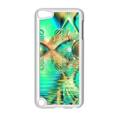 Golden Teal Peacock, Abstract Copper Crystal Apple iPod Touch 5 Case (White)