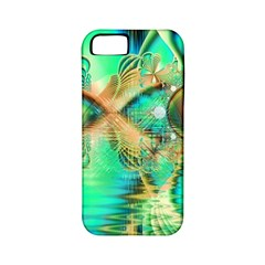 Golden Teal Peacock, Abstract Copper Crystal Apple iPhone 5 Classic Hardshell Case (PC+Silicone)