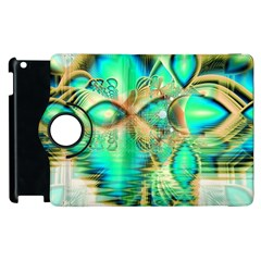 Golden Teal Peacock, Abstract Copper Crystal Apple iPad 2 Flip 360 Case