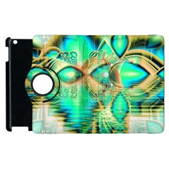Golden Teal Peacock, Abstract Copper Crystal Apple Ipad 3/4 Flip 360 Case