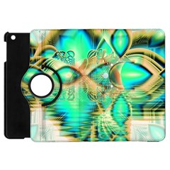 Golden Teal Peacock, Abstract Copper Crystal Apple Ipad Mini Flip 360 Case