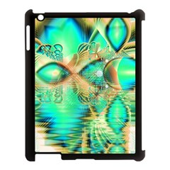 Golden Teal Peacock, Abstract Copper Crystal Apple Ipad 3/4 Case (black)