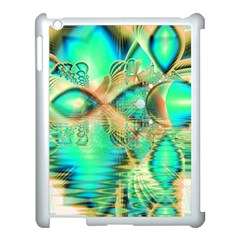 Golden Teal Peacock, Abstract Copper Crystal Apple iPad 3/4 Case (White)
