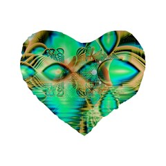 Golden Teal Peacock, Abstract Copper Crystal 16  Premium Heart Shape Cushion