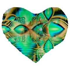 Golden Teal Peacock, Abstract Copper Crystal 19  Premium Heart Shape Cushion