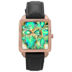 Golden Teal Peacock, Abstract Copper Crystal Rose Gold Leather Watch