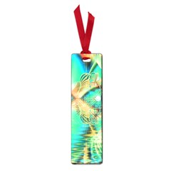 Golden Teal Peacock, Abstract Copper Crystal Small Bookmark