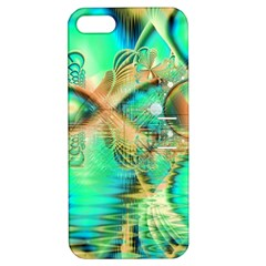 Golden Teal Peacock, Abstract Copper Crystal Apple iPhone 5 Hardshell Case with Stand