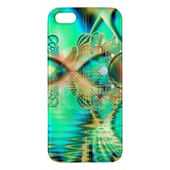 Golden Teal Peacock, Abstract Copper Crystal Apple Iphone 5 Premium Hardshell Case