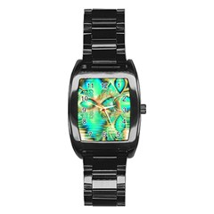 Golden Teal Peacock, Abstract Copper Crystal Stainless Steel Barrel Watch