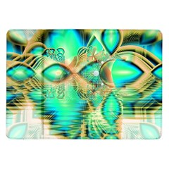 Golden Teal Peacock, Abstract Copper Crystal Samsung Galaxy Tab 10.1  P7500 Flip Case