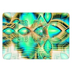Golden Teal Peacock, Abstract Copper Crystal Samsung Galaxy Tab 8.9  P7300 Flip Case