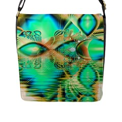 Golden Teal Peacock, Abstract Copper Crystal Flap Closure Messenger Bag (Large)