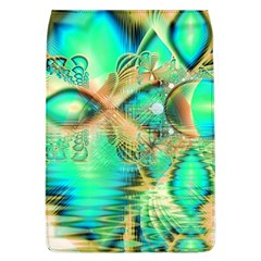 Golden Teal Peacock, Abstract Copper Crystal Removable Flap Cover (Large)