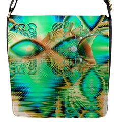 Golden Teal Peacock, Abstract Copper Crystal Flap Closure Messenger Bag (small)