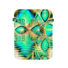 Golden Teal Peacock, Abstract Copper Crystal Apple Ipad Protective Sleeve