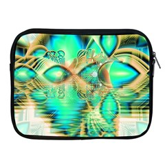 Golden Teal Peacock, Abstract Copper Crystal Apple iPad Zippered Sleeve