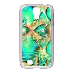Golden Teal Peacock, Abstract Copper Crystal Samsung GALAXY S4 I9500/ I9505 Case (White)