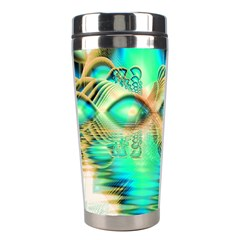 Golden Teal Peacock, Abstract Copper Crystal Stainless Steel Travel Tumbler