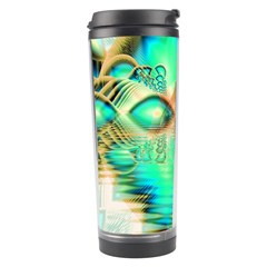 Golden Teal Peacock, Abstract Copper Crystal Travel Tumbler