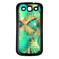 Golden Teal Peacock, Abstract Copper Crystal Samsung Galaxy S3 Back Case (black)