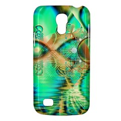 Golden Teal Peacock, Abstract Copper Crystal Samsung Galaxy S4 Mini (GT-I9190) Hardshell Case