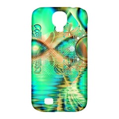 Golden Teal Peacock, Abstract Copper Crystal Samsung Galaxy S4 Classic Hardshell Case (PC+Silicone)