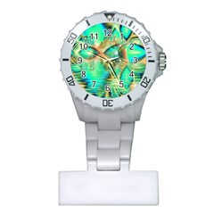Golden Teal Peacock, Abstract Copper Crystal Nurses Watch