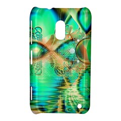 Golden Teal Peacock, Abstract Copper Crystal Nokia Lumia 620 Hardshell Case