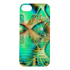 Golden Teal Peacock, Abstract Copper Crystal Apple iPhone 5S Hardshell Case